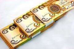 Dinero en circulación del dinar de Iraq aislado Fotografía de archivo libre de regalías