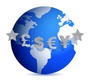Dinero en circulación del mundo stock de ilustración
