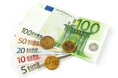 Dinero en circulación euro aislado Foto de archivo libre de regalías