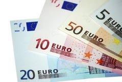 Dinero en circulación europeo. Billetes de banco euro. Imagenes de archivo