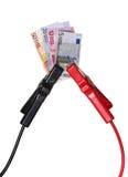 Dinero en circulación europeo en cables del salto-principio Imagenes de archivo
