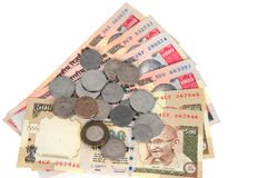 Dinero en circulación indio y monedas Fotos de archivo libres de regalías