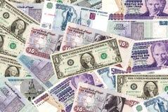 Dinero en circulación internacional Fotografía de archivo libre de regalías