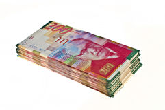 Dinero en circulación israelí Foto de archivo libre de regalías