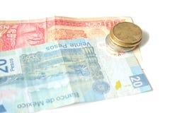 Dinero en circulación mexicano foto de archivo libre de regalías