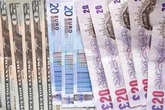 Dinero en circulación mezclado Fotografía de archivo libre de regalías
