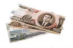 Dinero en circulación norcoreano Foto de archivo libre de regalías