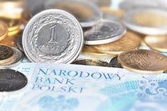 Dinero en circulación polaco (PLN) Foto de archivo