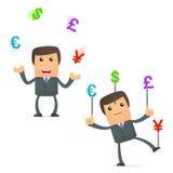 Dinero en circulación que hace juegos malabares del hombre de negocios divertido de la historieta Fotos de archivo