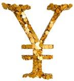 Dinero en circulación y efectivo de los Yenes. Símbolo ensamblado con las monedas Fotografía de archivo libre de regalías