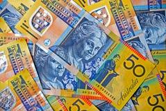 Dinero en circulación australiano - cincuenta notas del dólar Imagen de archivo