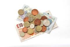 Dinero en circulación (británico) británico. Imagen de archivo libre de regalías