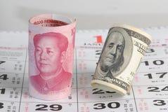 Dinero en circulación de China los E.E.U.U. Fotos de archivo