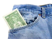Dinero en el bolsillo de Jean Imagen de archivo libre de regalías