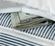 Dinero en el colchón Imagen de archivo