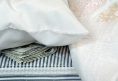 Dinero en el colchón Fotos de archivo