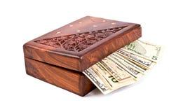 Dinero en el rectángulo Fotos de archivo libres de regalías