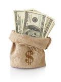 Dinero en el saco fotos de archivo
