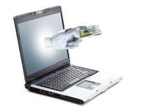 Dinero en línea Fotografía de archivo libre de regalías