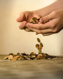 Dinero en la basura, el hundimiento de la crisis del mercado financiero Imagen de archivo libre de regalías