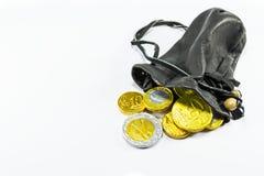 Dinero en la bolsa de cuero Foto de archivo