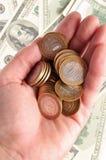 Dinero en la mano Imagen de archivo libre de regalías