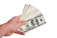 Dinero en la mano fotos de archivo