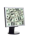 Dinero en la pantalla de ordenador fotos de archivo libres de regalías