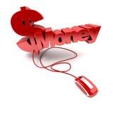 Dinero en línea Imágenes de archivo libres de regalías