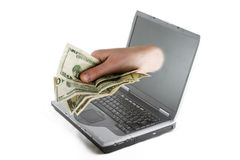 Dinero en línea Fotos de archivo libres de regalías