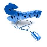 Dinero en línea en azul Fotografía de archivo libre de regalías