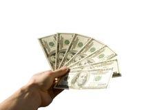 Dinero en manos Fotos de archivo