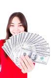 Dinero en manos del adolescente Foto de archivo libre de regalías