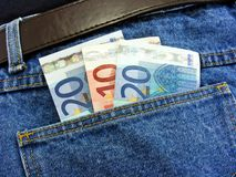 Dinero en mi bolsillo imagen de archivo