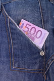 Dinero en mi bolsillo Fotos de archivo