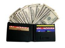 Dinero en monedero Imagenes de archivo