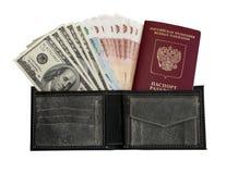 Dinero en monedero Fotografía de archivo libre de regalías