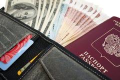 Dinero en monedero Foto de archivo