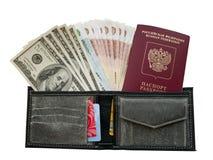 Dinero en monedero Imágenes de archivo libres de regalías