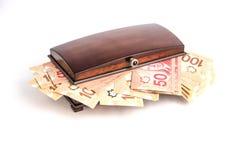 Dinero en pecho Fotos de archivo libres de regalías