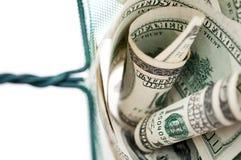 Dinero en red de pesca Fotografía de archivo libre de regalías