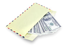 Dinero en sobre Foto de archivo libre de regalías