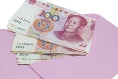 Dinero en sobre rosado Fotografía de archivo
