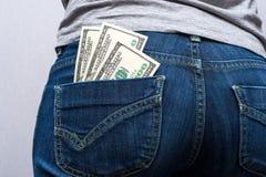 Dinero en su bolsillo Imagen de archivo