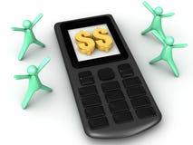 Dinero en su teléfono Imagen de archivo
