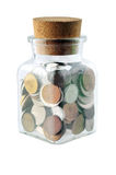 Dinero en un tarro de cristal Imágenes de archivo libres de regalías