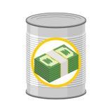 Dinero en una lata Efectivo conservado Dólares para en lo sucesivo Illus del vector Imagen de archivo libre de regalías