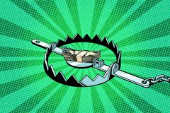 Dinero en una trampa de hierro stock de ilustración