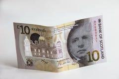 Dinero escocés Billete de banco de diez libras imagen de archivo libre de regalías