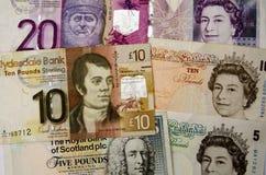 Dinero escocés e inglés Fotos de archivo libres de regalías